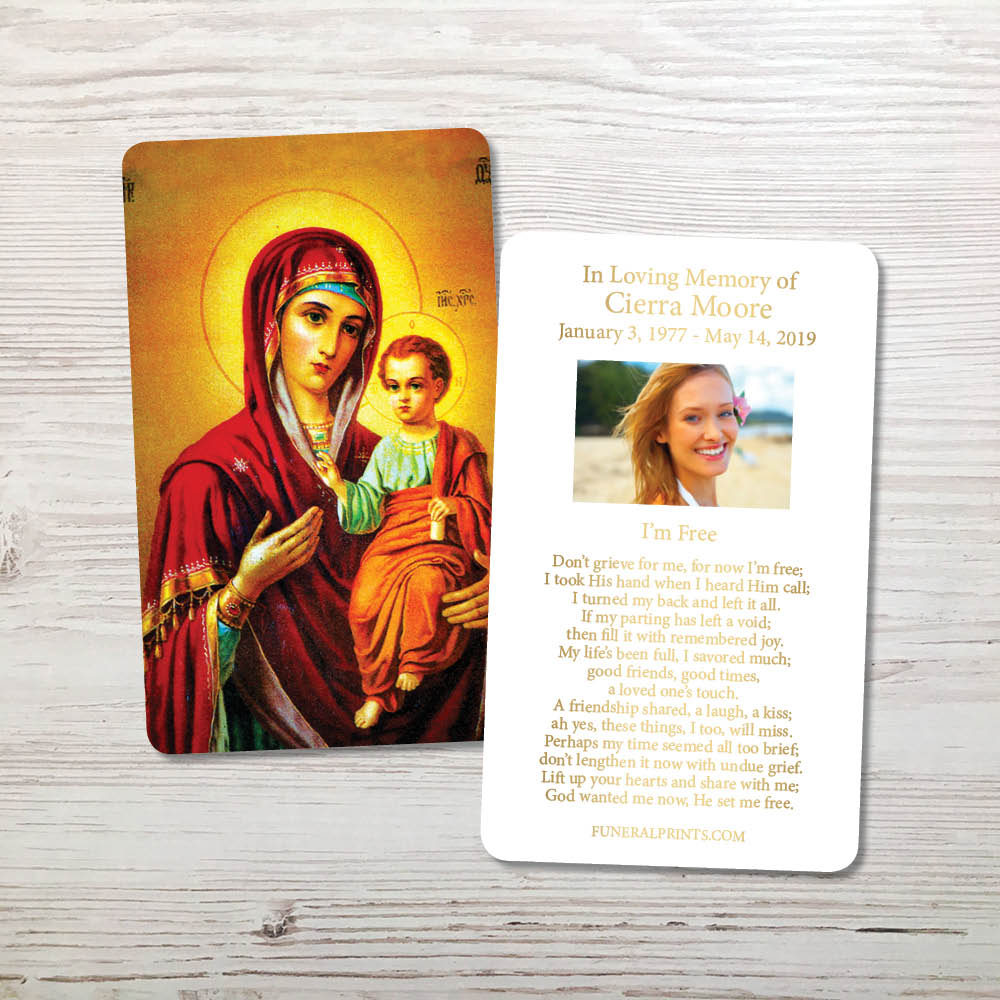 Picture of Virgin Mary with Jesus Gold Foil Memorial Card