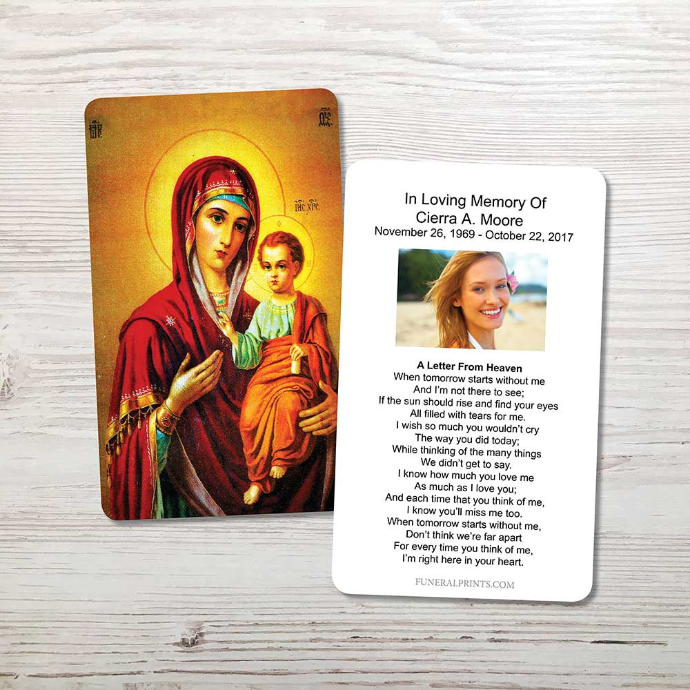 Picture of Virgin Mary with Jesus Memorial Card