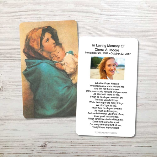 Picture of Mary & Baby Jesus 2 Memorial Card
