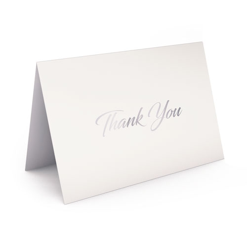 Picture of White with Silver Foil Thank You Card