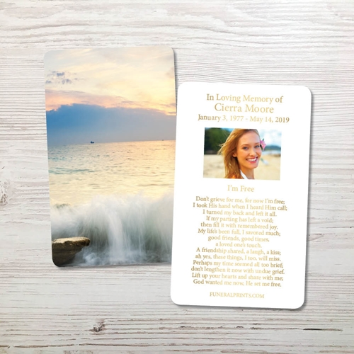 Picture of Morning Ocean Gold Foil Memorial Card