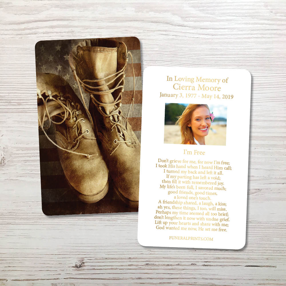 Picture of Flag & Boots 2 Gold Foil Memorial Card