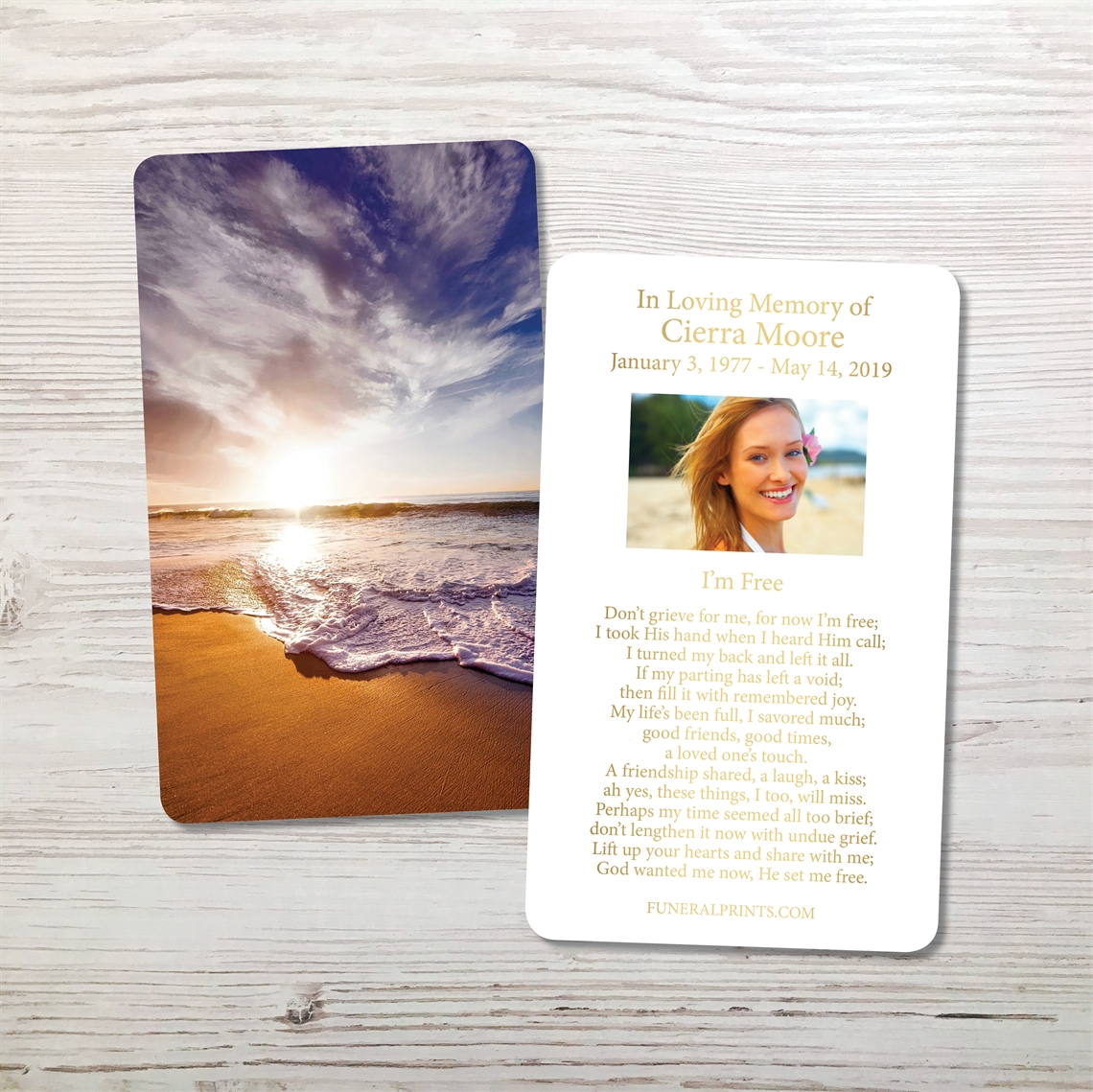 Picture of Oceanfront Gold Foil Memorial Card