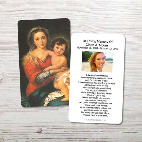 Picture of Mary & Baby Jesus 3 Memorial Card