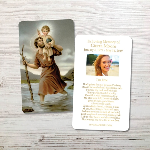 Picture of St. Christopher Gold Foil Memorial Card