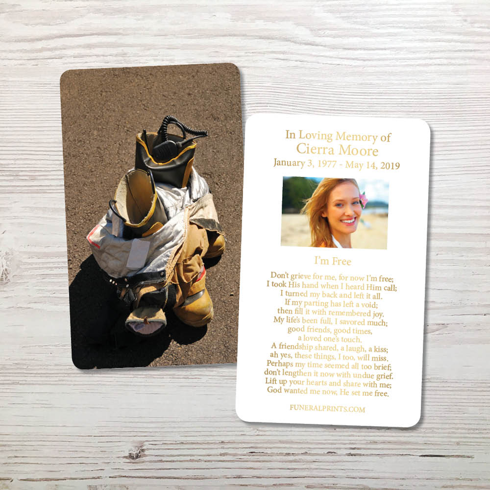 Picture of Fireman Boots Gold Foil Memorial Card