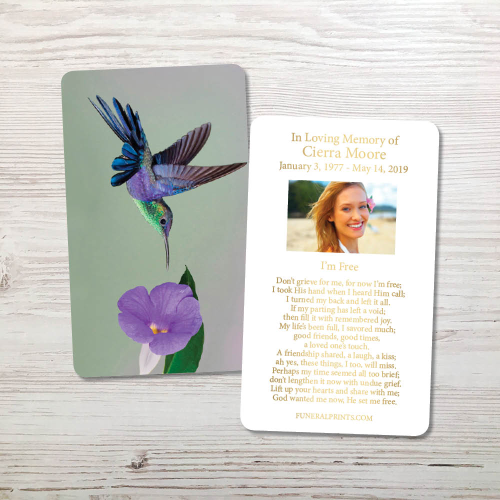 Picture of Hummingbird Gold Foil Memorial Card