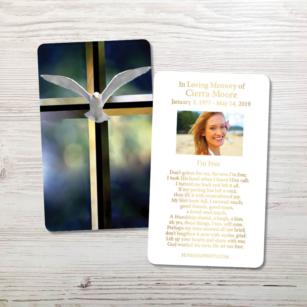 Picture of Cross & Dove Gold Foil Memorial Card