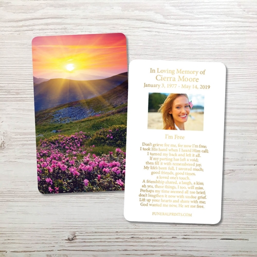 Picture of Purple Field Gold Foil Memorial Card