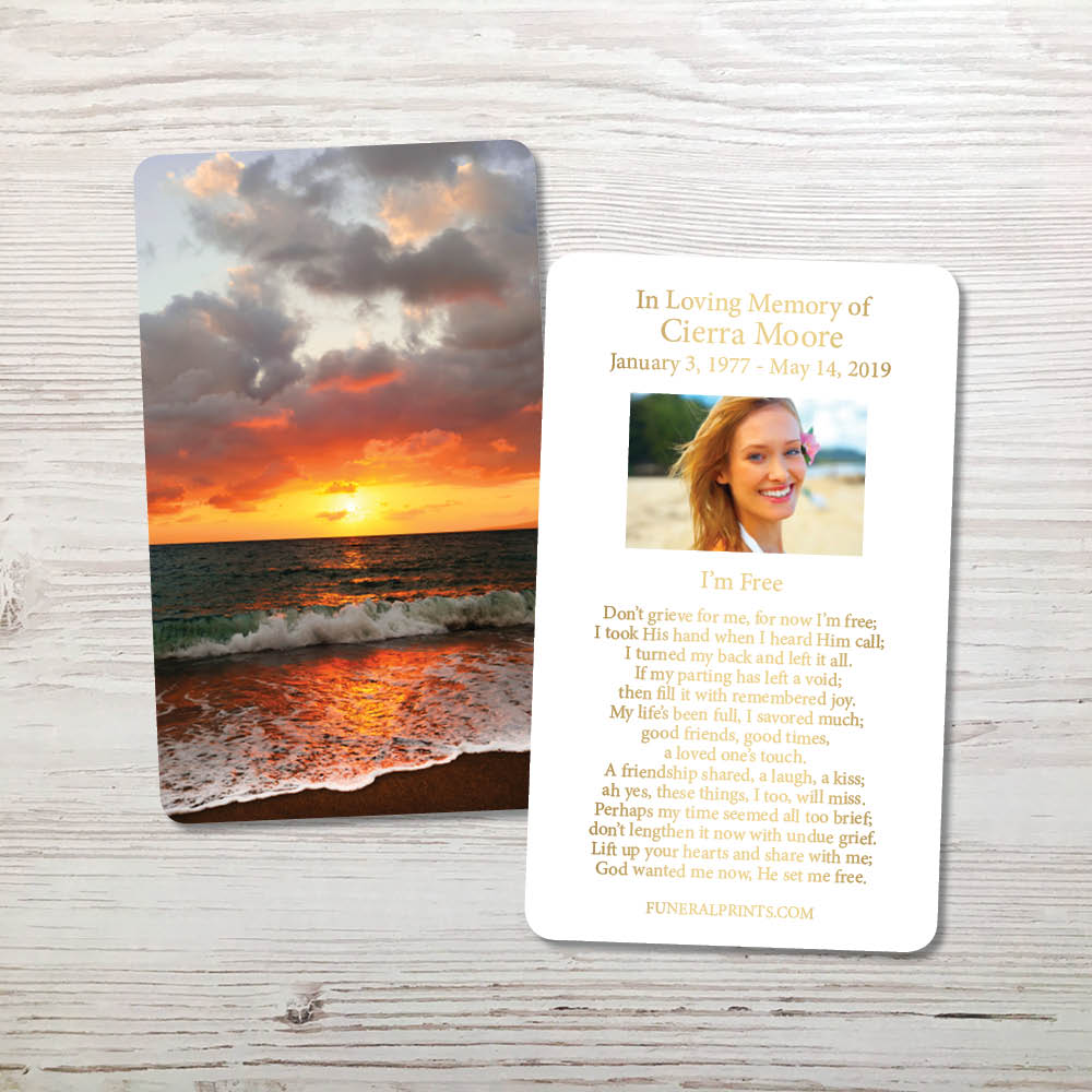 Picture of Ocean Sunset Gold Foil Memorial Card