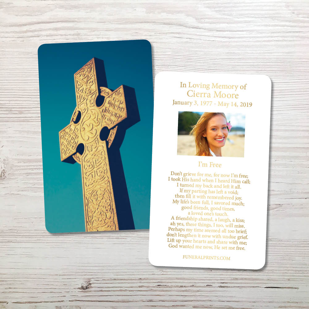 Picture of Celtic Cross Blue Sky 2 Gold Foil Memorial Card