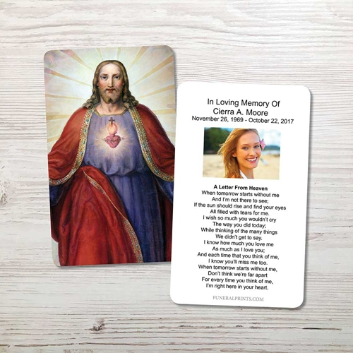Picture of Jesus Sacred Heart Memorial Card