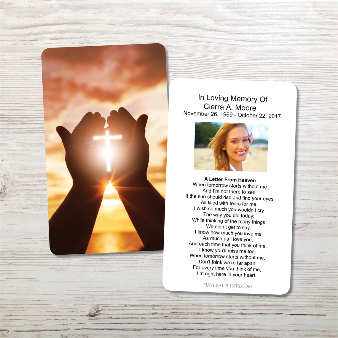 Picture of Cross in Hand Memorial Card