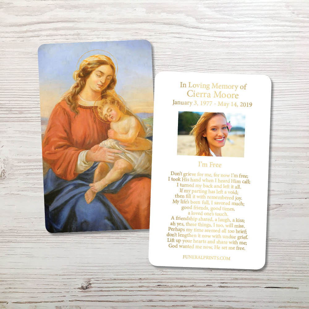 Picture of Mary & Baby Jesus Gold Foil Memorial Card