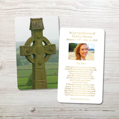 Picture of Celtic Cross Gold Foil Memorial Card
